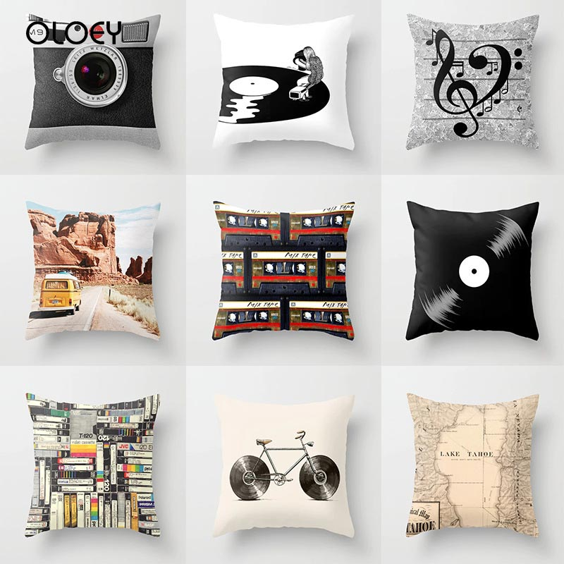 New Vintage Black And White Vintage Record Camera Series Pillow Sleeve Polyester Sofa Cushion Pillow Cover Home Decoration   ...