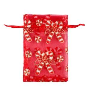 Image 3 - 100 adet 10X15 13X18cm Renkli kırmızı beyaz Noel organze çanta Gazlı Bez Eleman takı çantaları Ambalaj drawable Organze hediye keseleri 55