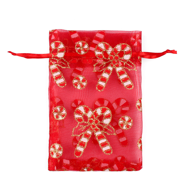 Image 3 - 50/100pcs 10X15 13X18cm Colored red white Christmas Organza Bag Gauze Element Jewelry Bags Packing Drawable Organza Gift Bags 55-in Gift Bags & Wrapping Supplies from Home & Garden