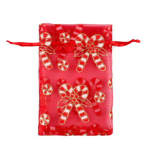 Image 3 - 50/100pcs 10X15 13X18cm Colored red white Christmas Organza Bag Gauze Element Jewelry Bags Packing Drawable Organza Gift Bags 55
