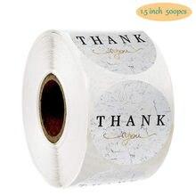 500個/ロールありがとう白ラベル大理石メッシュ金箔文房具ステッカークリスマスギフトエンベロープ1.5
