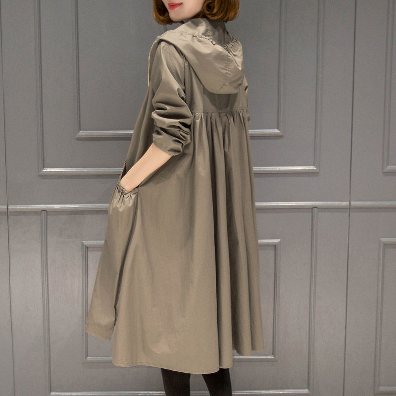 New Long Thin Trench Coat For Women 2019 Spring Autumn Plus Size Loose Hooded Female Windbreaker Korean Casual Outerwear F1818