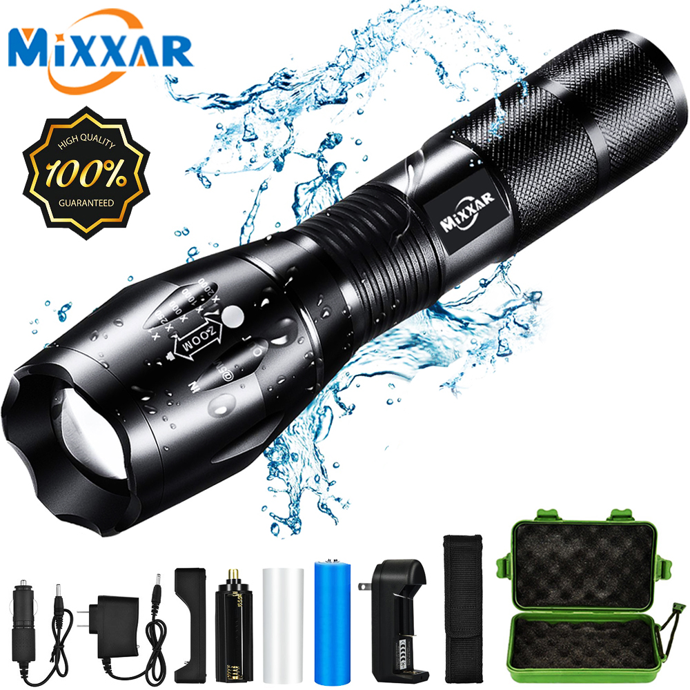 EZK20 Q250 TL360 T6 LED Handheld Tactical Flashlight 8000LM Zoom Torch Light Camping Lamp For 18650 Rechargeable Battery AAA
