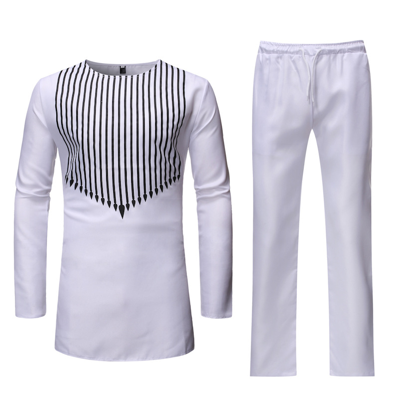 White African Dashiki Print Top Pant Set 2 Pieces Outfit Set 2019 Brand Men Clothes Streetwear African Suit Men Africa Clothing