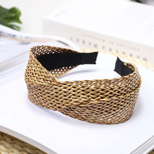 Фото повязка для волос ручной работы cn с соломенным переплетением