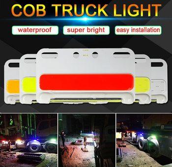 24V COB światła samochodów ciężarowych lampa obrotowa biały żółty zielony niebieski kolor czerwony 24V żarówka LED do dekoracji ciężarówki lampy sygnalizacyjne światło ciężarówki tanie i dobre opinie DongFeng Truck lights 105x58mm CLN-V31 Aluminum alloy 24V Truck Light Bulbs Aluminum Alloy Board (Yellow red blue green orange) + (White)