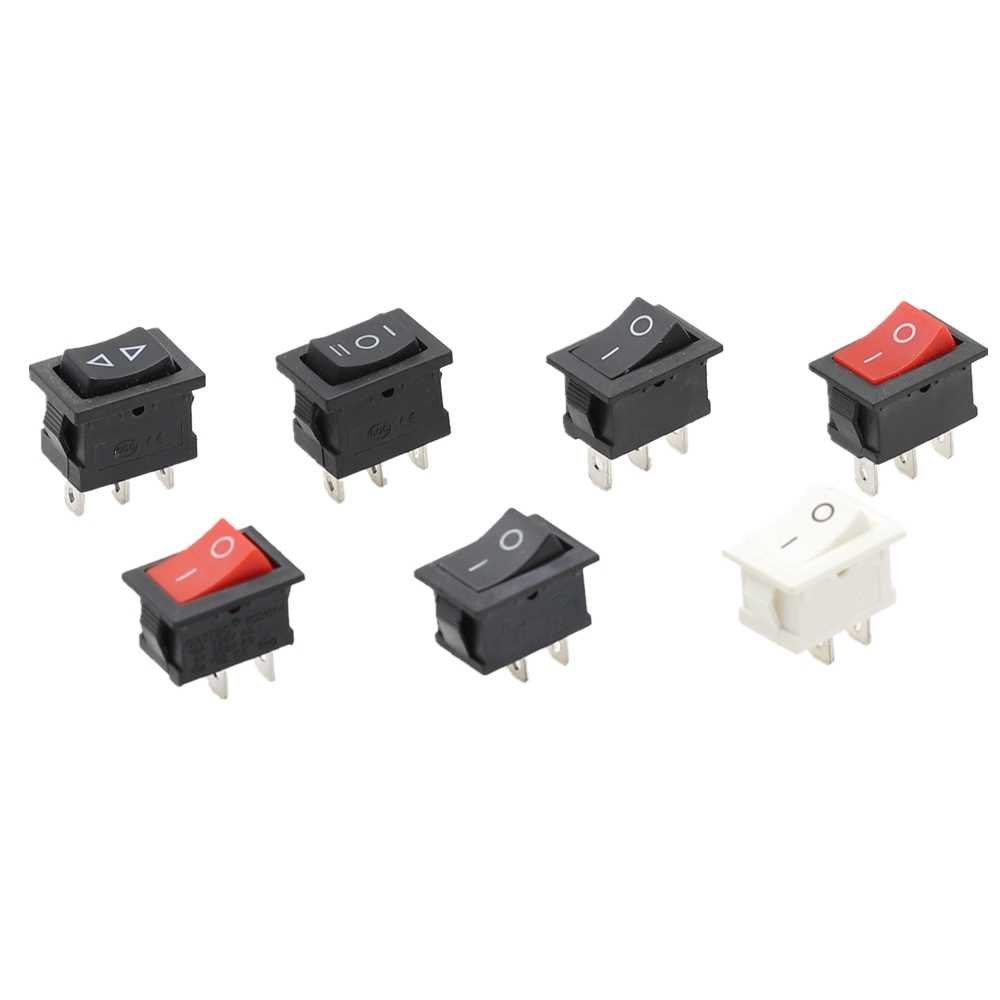 5/10 Buah 2 Pin 2 Posisi On/Off SPST PANEL MOUNT Rocker Switch AC 6A/250V 10A/125V Hitam KCD1 15*21 Mm