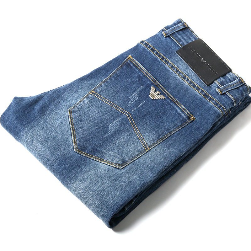International Famous Brand New Style MEN'S Jeans Rotten Hole Elasticity Straight-Cut Casual Jeans Men's AliExpress