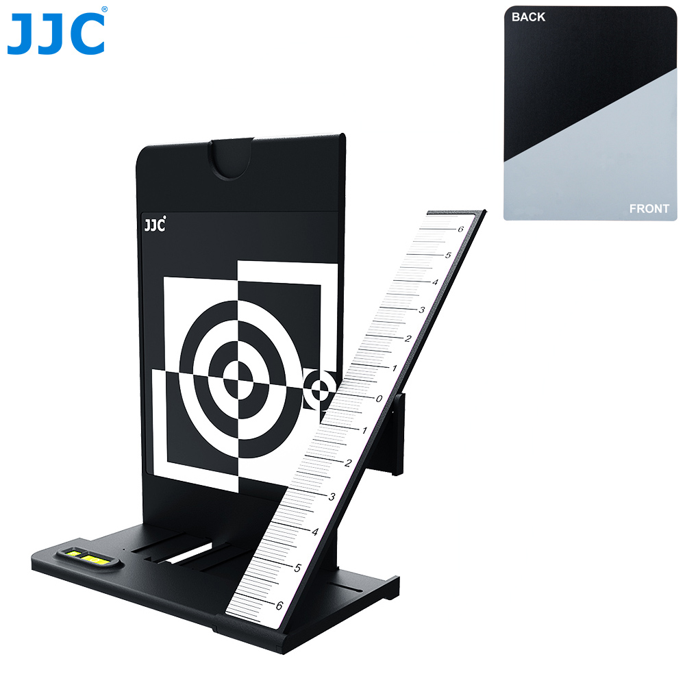 JJC Lens Autofocus Calibration Alignment Test Chart With Color Balance Grey Card For Camera With AF Micro Adjustment Function