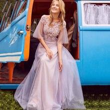 Фиолетовое ТРАПЕЦИЕВИДНОЕ платье для выпускного вечера 2020