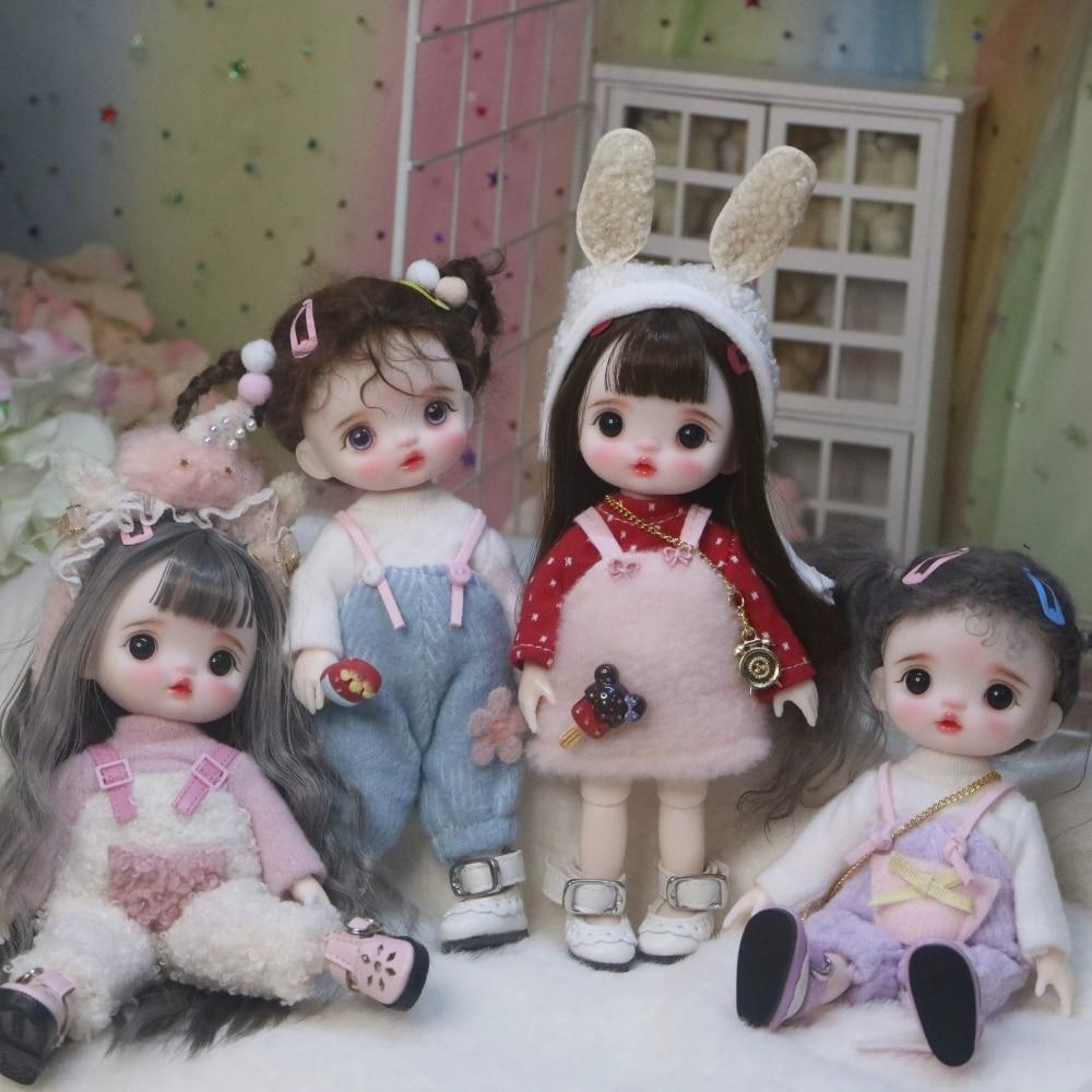 Boneca articulada bjd mini boneca mão compõem rosto boneca 17cm bonecas vendendo com roupas