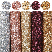 Fabric Faux-Leather Glitter-Lace Textile-1yc9998 Chunky Rainbow-Color A5-Size