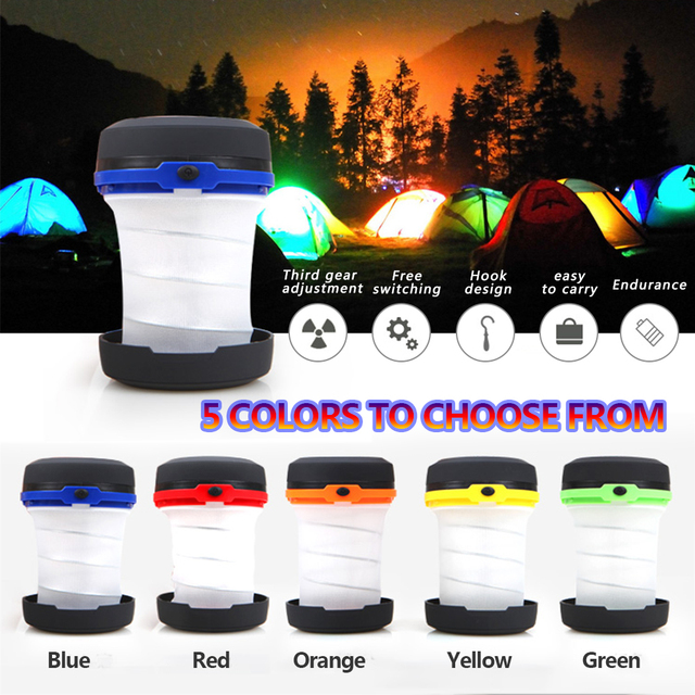 LED Multifunctional Telescopic Folding Camping Light Outdoor Flashlight Mini Tent Emergency Light Portable Pocket AA Flashlight 3