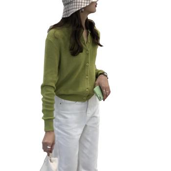 Damski dzianinowy bawełniany sweter z okrągłym dekoltem w całości zapinana na guziki tanie i dobre opinie Embellike Na co dzień 60 Cotton 40 Arcylic NONE Stałe REGULAR O-neck Pełna Akrylowe STANDARD Pojedyncze piersi WOMEN