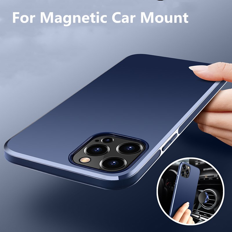 Invisible Car Mount Magnetic Phone Case For iPhone 12 Mini 11 Pro Max X XR XS Slim Back Cover Lightweight Business Luxury