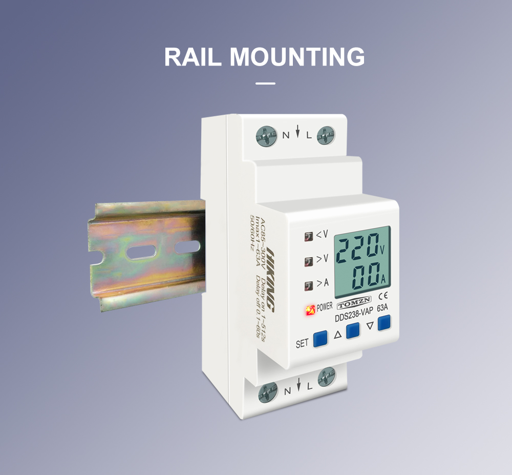H0d403816b89f4bb6af155dbe3163ca655 - 63A 80A 110V 230V Din rail adjustable over under voltage protective device current limit protection Voltmeter ammeter Kwh