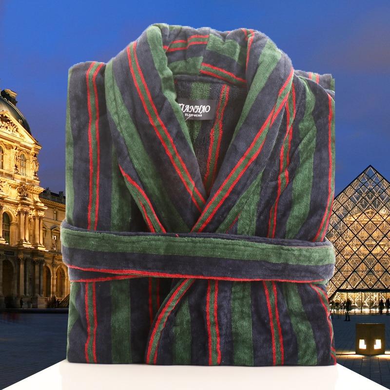 Men Bathrobe Winter Thick Warm Grid Cotton Bathrobe Mens Luxury Sleepwear Bath Robe Fashion Robes Male Thermal Dressing Gown
