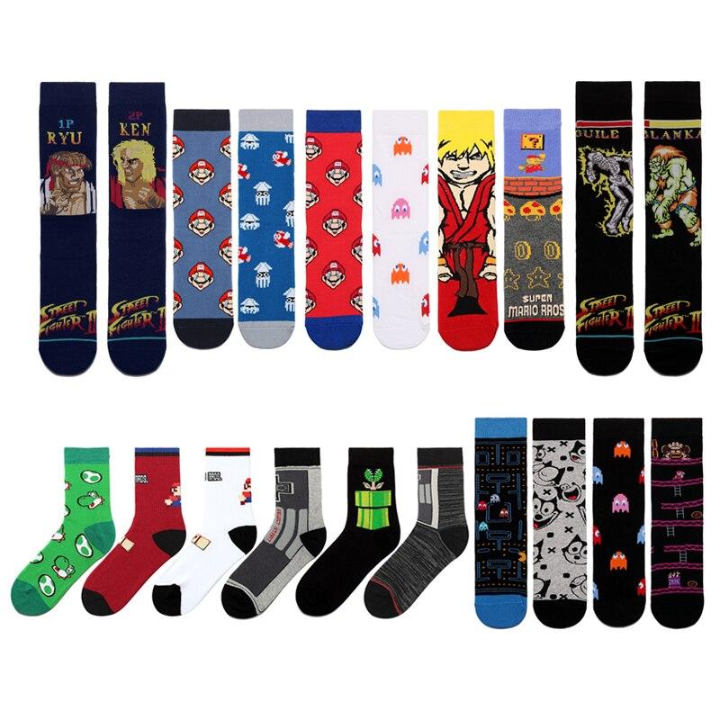 New Tide Brand Cotton Men Women's Crew Socks Combed Cotton Trendy Cartoon Anime Game Socks Novelty Funny Skateboard Socks