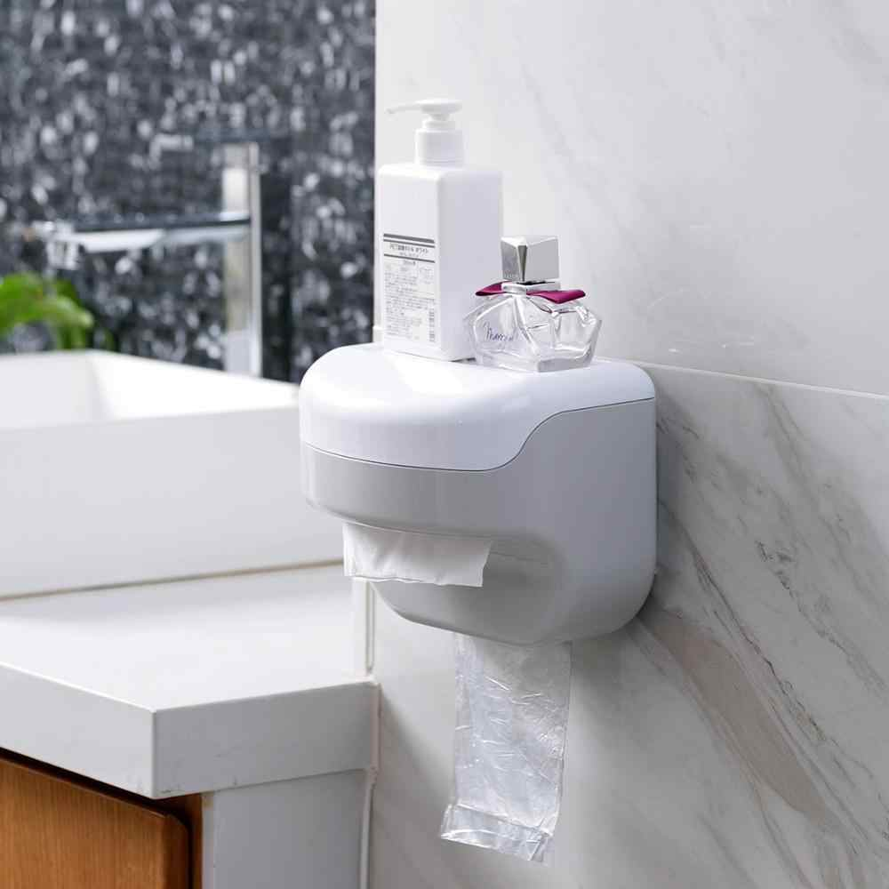 Bathroom Tissue Box Rack Case Toilet Paper Garbage Bag Roll Paper Dispenser Box Holder Wall Mounted
