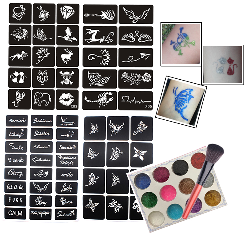 61pcs Glitter Tattoo Stencils Set Small Reusable Face Body Painting Butterfly Flowers Tattoo Stencil Glitter Powder With Brush
