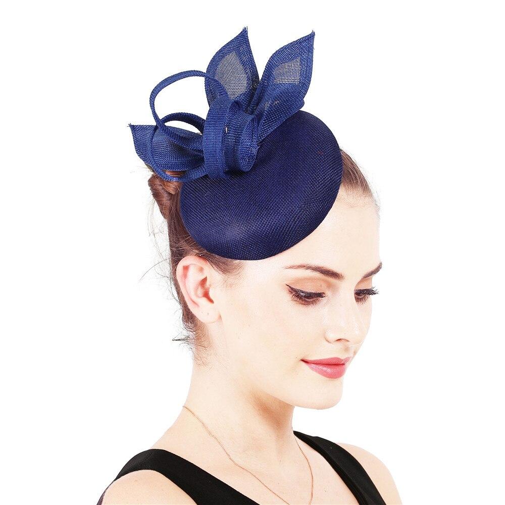 Винтажный головной убор цвета хаки, головной убор Sinamay, головной убор для особых случаев, шляпа Кентукки Дерби, церковная Свадебная вечеринка, гонка, высокое качество - Цвет: royal blue