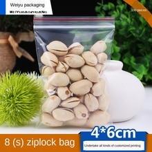 Ziplock Bag Transparent Plastic Bag Plastic Packaging Bag 4x6cm 0.08mm PE Plastic Food Sealed Fresh-Keeping Bag 100pcs