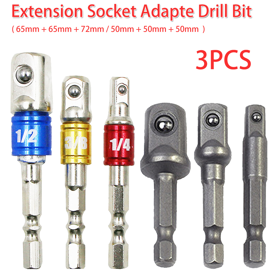 3pcs Socket Adapter Set 1/4 Hex Shank To 1/4
