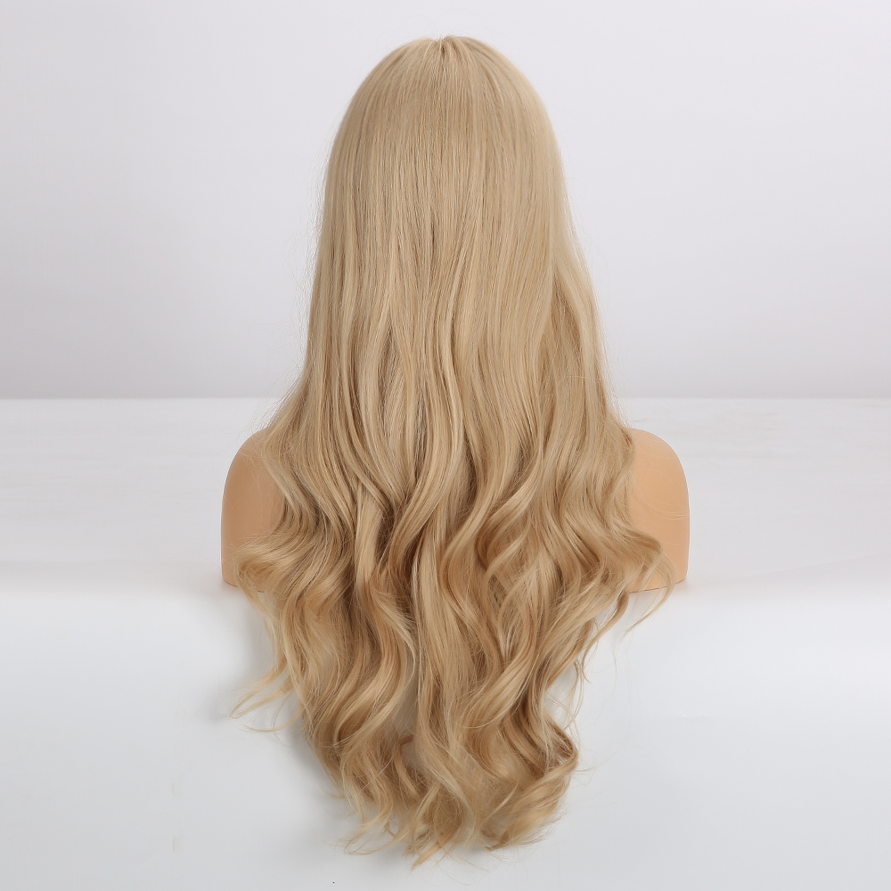 Image 2 - EASIHAIR Long Blonde Wavy Synthetic Wigs for Women Wigs with Bangs High Density Natural Cosplay Wigs Brown Ombre Heat ResistantSynthetic None-Lace  Wigs   -