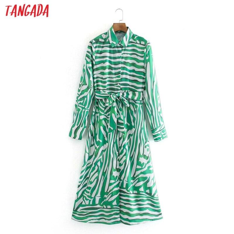 Moda de mujer Tangada de rayas verdes vestido de camisa 2020 nueva llegada de mujer de manga larga/Vestido midi vestidos XN34