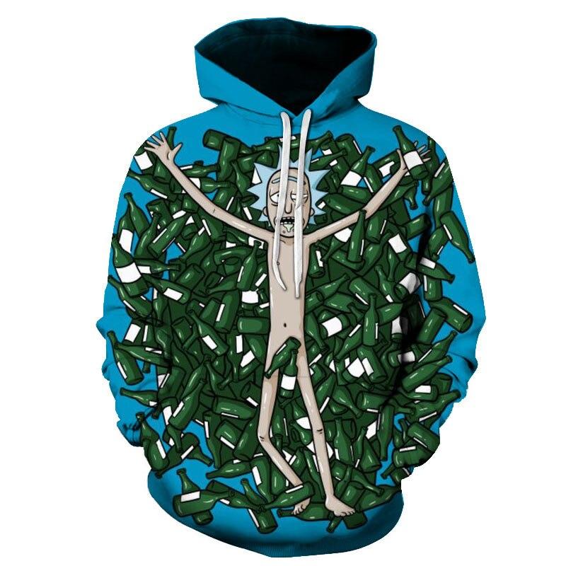 2020 New Custom 3D Sweatshirts Hip Hop Men/Women Hat Funny Print Rick Morty Crazy Scientist Winter Loose Thin Hooded Hoody Tops