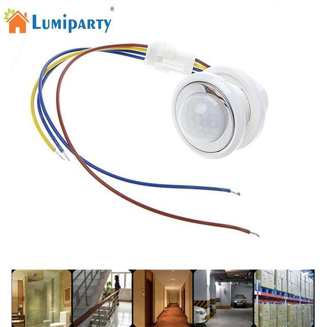 40mm detektor LED PIR czujnik ruchu na podczerwień przełącznik z z opóźnieniem czasowym regulowane światło ciemny dla domu oświetleniowa lampa LED