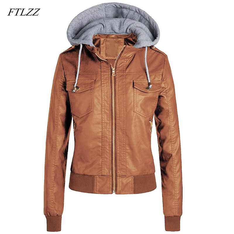 FTLZZ New Women Faux   Leather   Jacket Plus Size Winter Hooded Pu Motorcycle Hat Detachable Warm Faux Soft   Leather   Punk Outerwear
