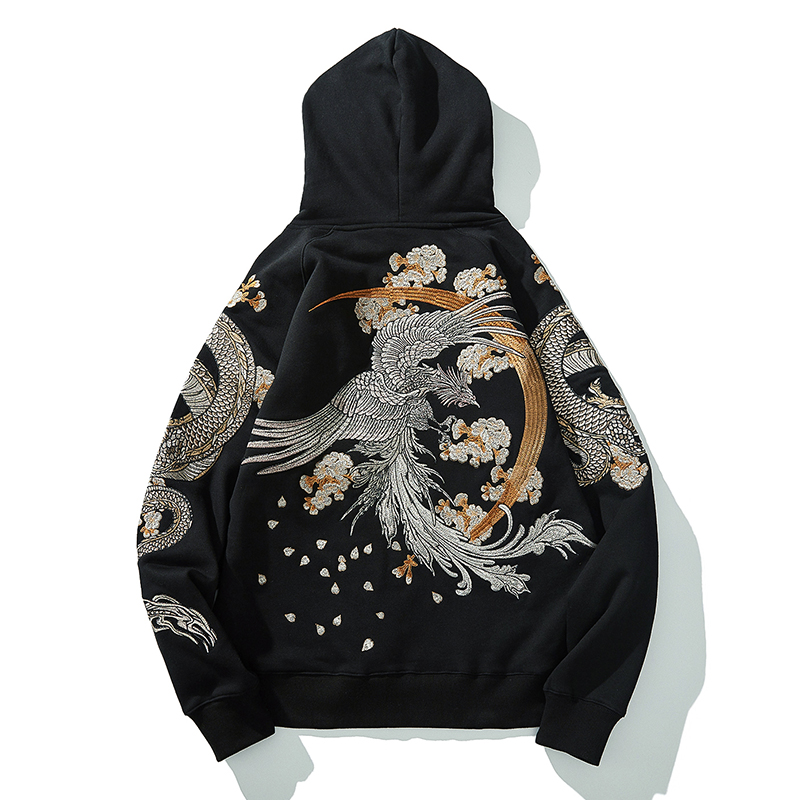 Autumn/winter Chinese Style Heavy Embroidered Dragon/phoenix Feather Heavy Hooded Hoodie Japanese Yokosuka Long-sleeved Coat Men