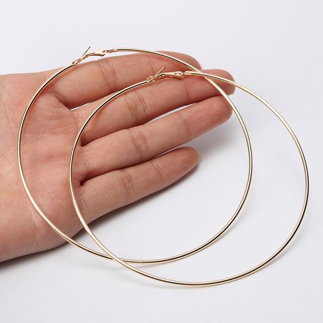 Pendientes de aro supergrandes de 12cm de blijary, pendientes grandes de círculo liso para mujer, joyería de declaración, Boucles d'oreilles