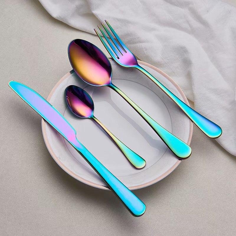 Spklifey набор столовых приборов из нержавеющей стали посуда Радуга нержавеющая сталь набор ложек вилка ложка нож стальные столовые приборы набор посуды Столовые сервизы      АлиЭкспресс