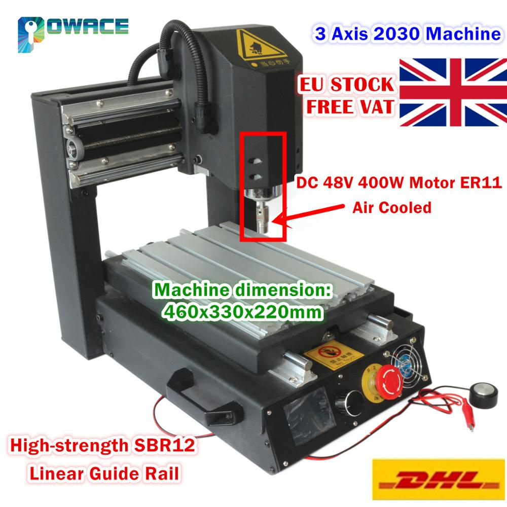 [EU SHIP] 3 Axis 2030 Desktop CNC Router Engraving Milling Machine &Emergency Stop High-strength Steel 110V/220V+400W Spindle