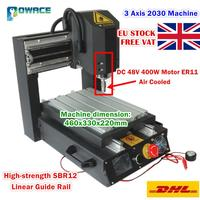 [EU SHIP] 3 Axis 2030 Desktop CNC Router Engraving Milling Machine &Emergency stop High strength steel 110V/220V+400W Spindle