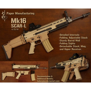 1:1 MK16 Paper Model Gun SOF Combat Assault Rifle SCAR   DIY 3D Paper Card Model Building Sets Construction Toys Military Model 1