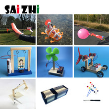 Saizhi 9sets DIY Children Science Project Toys Kits Wood Kids Physical Science Experiments Toy Set Assembled Car Educational Toy(China)