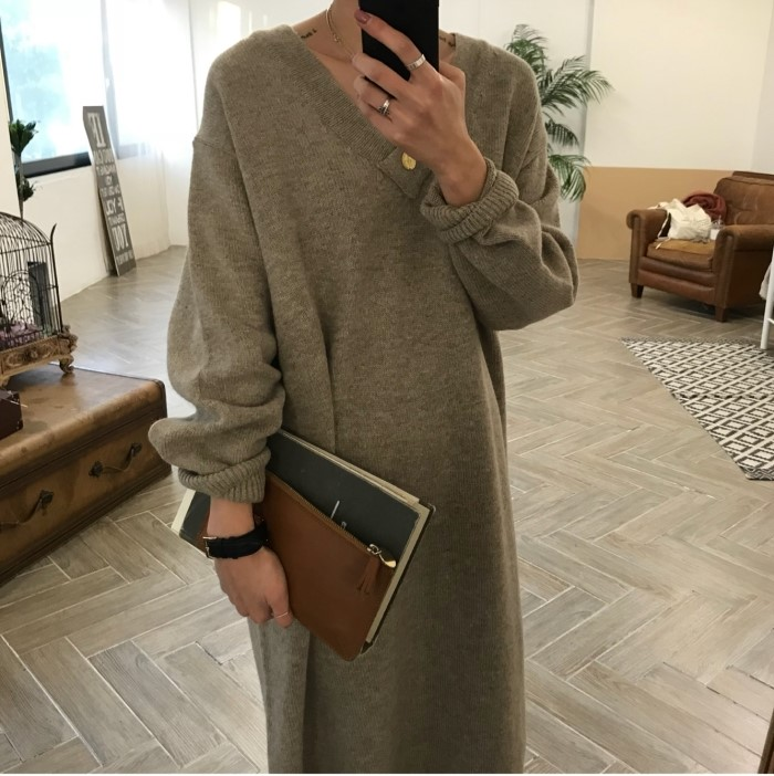 2019 Winter Loose Style Women Dress Elegant Korea Knitted Sweater Dress V Neck Casual Dress