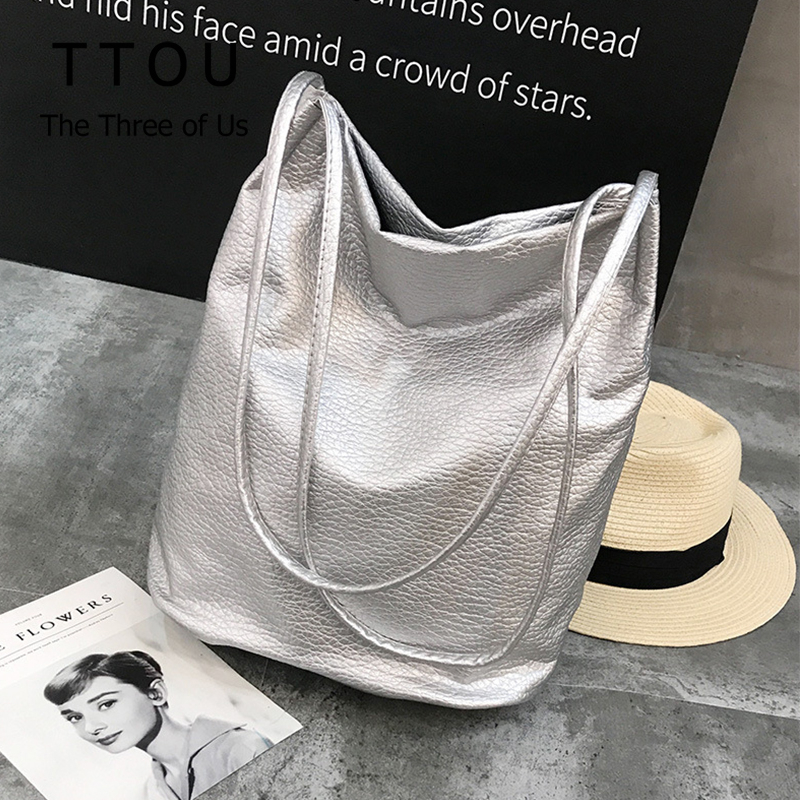 TTOU Fashion Woman Shoulder Bags Soft PU Leather Handbag Silver Black Ladies Casual Shipping Tote Bags Travel Bags Sac A Main