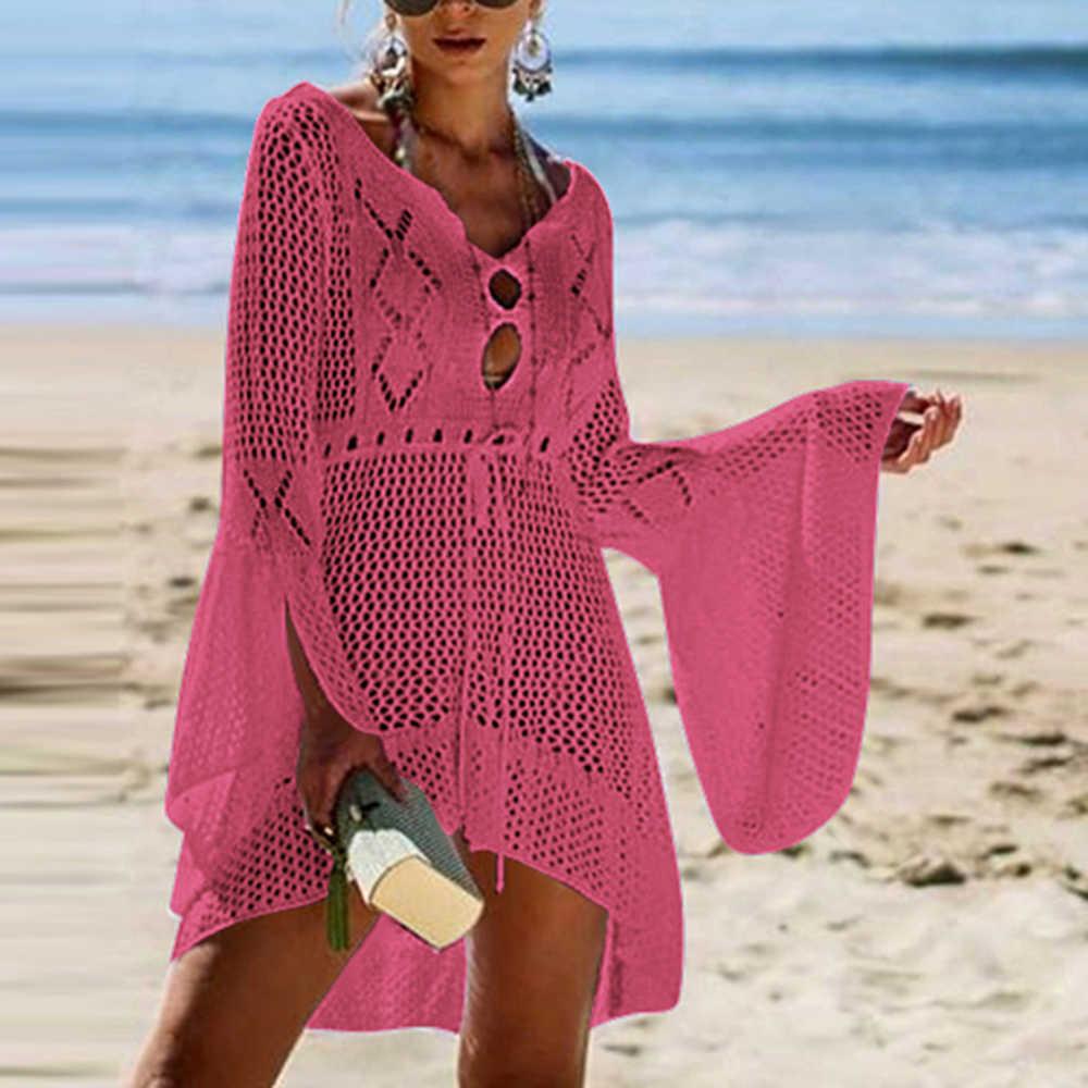 2020 비치 커버 크로 셰 뜨개질 니트 술 넥타이 비치웨어 튜닉 롱 Pareos 여름 수영복 커버 섹시한 시스루 비치 드레스