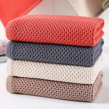 Square New 100% Cotton Honeycomb Lattice Hand Towels Plaid Face Care Magic Bathroom Sport Household Non-disposable Towel 34x34cm image