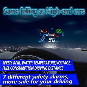 Image 3 - GEYIREN A100S z osłoną przeciwsłoneczną Q700 wyświetlacz samochodowy HUD wyświetlacz OBD II EUOBD wyświetlacz parametrów wozu na szybie elektronika samochodowa lepiej niż C60 C80