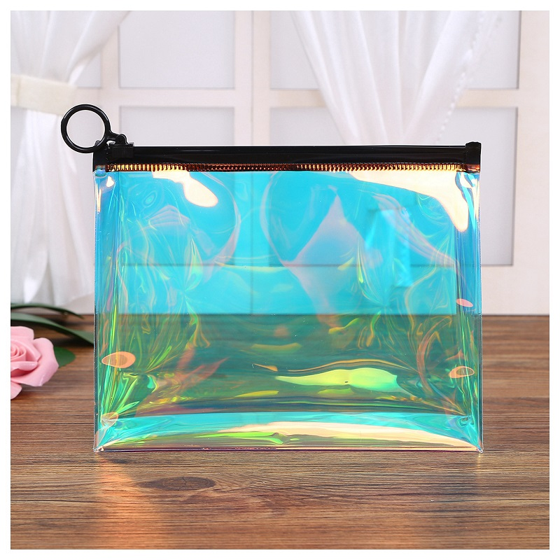 Customized Logo Soft PVC Laser Hologram Zipper Cosmetic Pouch With Ring Handle