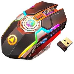 Image 1 - Wireless Gaming Maus Wiederaufladbare Gaming Maus Stille Ergonomische 7 Tasten RGB Backlit 1600 DPI maus für Laptop Computer Pro Gamer