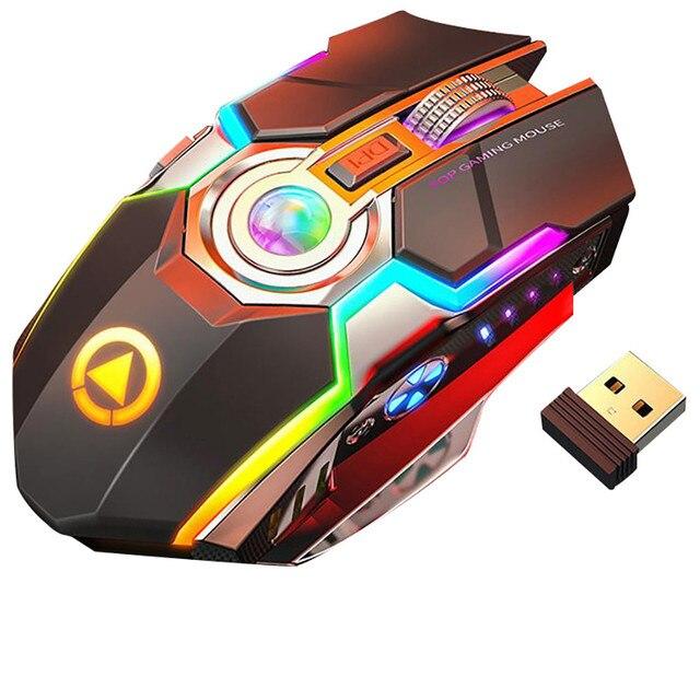 Wireless Gaming Maus Wiederaufladbare Gaming Maus Stille Ergonomische 7 Tasten RGB Backlit 1600 DPI maus für Laptop Computer Pro Gamer