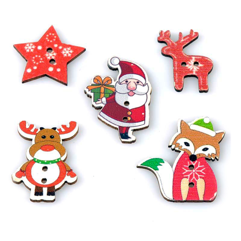 Happy New Year 10PCS Cute Christmas Wooden Button Clothing Coat Decorations Accessories Portable Sewing Christmas Party Supplies