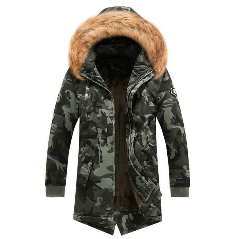 2019 Winter Jacket Men Fur Collar Thick Warm   Parka   Men Hooded Outwear Camouflage Military Long Coat Velvet Trench Casual Tops