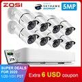 ZOSI 8CH HD 5.0MP H.265 + безопасности Камера Системы с 8x5 Мп 2560*1920 на открытом воздухе/Крытый CCTV Камеры Скрытого видеонаблюдения 2 ТБ жесткого диска